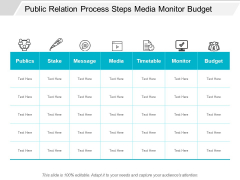 Public Relation Process Steps Media Monitor Budget Ppt Powerpoint Presentation Layouts Portrait