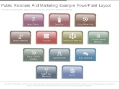 Public Relations And Marketing Example Powerpoint Layout