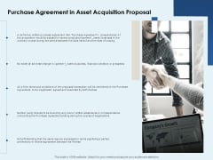 Purchase Agreement In Asset Acquisition Proposal Ppt PowerPoint Presentation Infographic Template Design Ideas