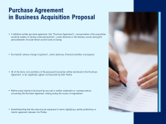 Purchase Agreement In Business Acquisition Proposal Ppt PowerPoint Presentation Pictures Show