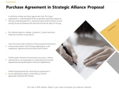 Purchase Agreement In Strategic Alliance Proposal Ppt PowerPoint Presentation Icon Aids