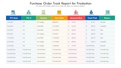 Purchase Order Track Report For Production Ppt PowerPoint Presentation Icon Example Introduction PDF
