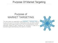 Purpose Of Market Targeting Ppt PowerPoint Presentation Gallery