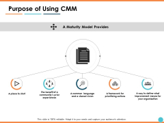 Purpose Of Using CMM Ppt PowerPoint Presentation Model Sample