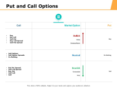 Put And Call Options Ppt PowerPoint Presentation Infographics Elements