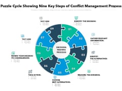 Puzzle Cycle Showing Nine Key Steps Of Conflict Management Process Ppt PowerPoint Presentation Show Clipart PDF