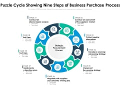 Puzzle Cycle Showing Nine Steps Of Business Purchase Process Ppt PowerPoint Presentation Inspiration Introduction PDF