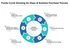 Puzzle Cycle Showing Six Steps Of Business Purchase Process Ppt PowerPoint Presentation Layouts Slide PDF
