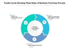 Puzzle Cycle Showing Three Steps Of Business Purchase Process Ppt PowerPoint Presentation Show Elements PDF