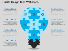 Puzzle Design Bulb With Icons Powerpoint Template