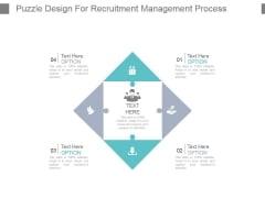Puzzle Design For Recruitment Management Process Powerpoint Slide Inspiration