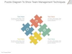 Puzzle Diagram To Show Team Management Techniques Ppt PowerPoint Presentation Infographics