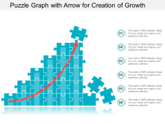 Puzzle Graph With Arrow For Creation Of Growth Ppt PowerPoint Presentation Infographics Professional