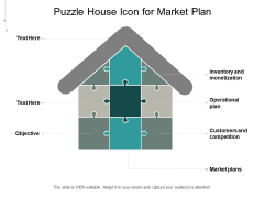 Puzzle House Icon For Market Plan Ppt PowerPoint Presentation Gallery Portfolio