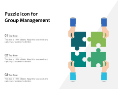 Puzzle Icon For Group Management Ppt PowerPoint Presentation Infographics Mockup PDF