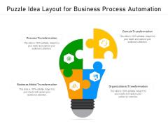 Puzzle Idea Layout For Business Process Automation Ppt PowerPoint Presentation Professional Slide Portrait PDF