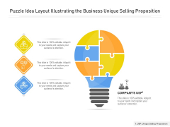 Puzzle Idea Layout Illustrating The Business Unique Selling Proposition Ppt PowerPoint Presentation Gallery Objects PDF