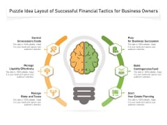 Puzzle Idea Layout Of Successful Financial Tactics For Business Owners Ppt PowerPoint Presentation Model Layouts PDF
