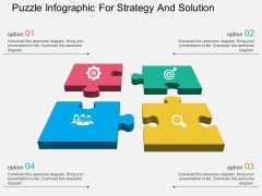 Puzzle Infographic For Strategy And Solution Powerpoint Templates