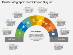 Puzzle Infographic Semicircular Diagram PowerPoint Template