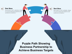 Puzzle Path Showing Business Partnership To Achieve Business Targets Ppt PowerPoint Presentation File Summary PDF