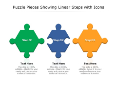 Puzzle Pieces Showing Linear Steps With Icons Ppt PowerPoint Presentation Portfolio Designs Download PDF