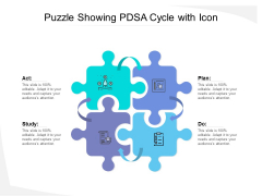 Puzzle Showing Pdsa Cycle With Icon Ppt PowerPoint Presentation Pictures Example PDF