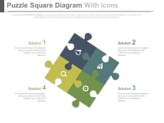 Puzzle Square Diagram With Icons Powerpoint Slides