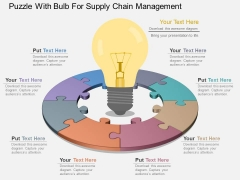 Puzzle With Bulb For Supply Chain Management Powerpoint Template