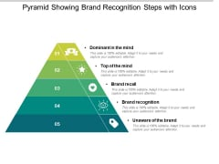 Pyramid Showing Brand Recognition Steps With Icons Ppt PowerPoint Presentation Gallery Good PDF