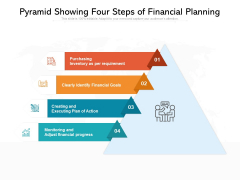 Pyramid Showing Four Steps Of Financial Planning Ppt PowerPoint Presentation Gallery Background Image PDF