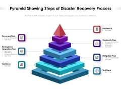 Pyramid Showing Steps Of Disaster Recovery Process Ppt PowerPoint Presentation Gallery Template PDF