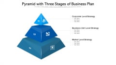 Pyramid With Three Stages Of Business Plan Ppt PowerPoint Presentation Gallery Skills PDF