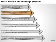 Parallel Arrows In Line Describing 6 Processes Business Cards PowerPoint Slides