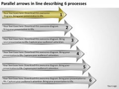Parallel Arrows In Line Describing 6 Processes Gym Business Plan PowerPoint Templates