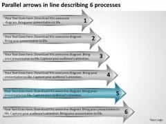 Parallel Arrows In Line Describing 6 Processes Successful Business Plan PowerPoint Templates