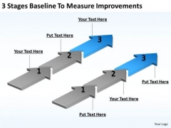 Parallel Arrows PowerPoint 3 Stages Baseline To Measure Improvements Ppt Slides