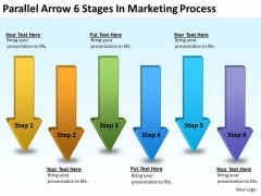 Parallel Arrows PowerPoint 6 Stages Marketing Process Slides
