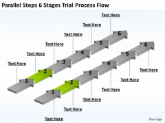 Parallel Data Processing Steps 6 Stages Trial Flow PowerPoint Templates