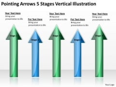 Parallel Distributed Processing Pointing Arrows 5 Stages Vertical Illustration PowerPoint Templates
