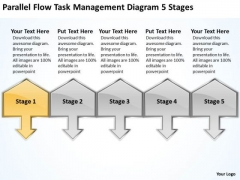 Parallel Flow Task Management Diagram 5 Stages Elements Business Plan PowerPoint Templates