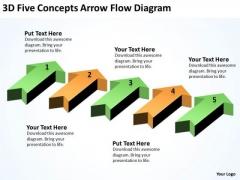 Parallel Processing Application 3d Five Concepts Arrow Flow Diagram PowerPoint Templates