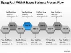 Path With 9 Stages Business Process Flow Ppt Steps To Writing Plan PowerPoint Slides