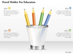Pencil Holder For Education PowerPoint Template