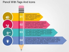 Pencil With Tags And Icons PowerPoint Templates