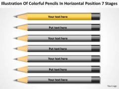 Pencils In Horizontal Position 7 Stages Ppt Business Plans Examples Free PowerPoint Templates