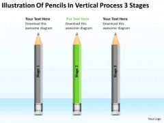 Pencils In Vertical Process 3 Stages Ppt Help Writing Business Plan PowerPoint Slides