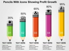 Pencils With Icons Showing Profit Growth PowerPoint Template