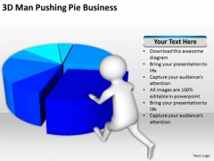 People Business 3d Man Pushing Pie PowerPoint Templates Free Download