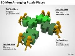 People Business 3d Men Arranging Puzzle Pieces PowerPoint Templates